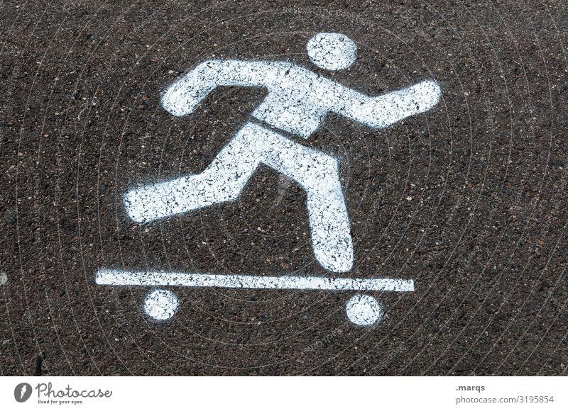 Skateboarding Freizeit & Hobby Sport Verkehr Verkehrsmittel Straße Zeichen Piktogramm Freude Kommunizieren Farbfoto Textfreiraum links Textfreiraum rechts