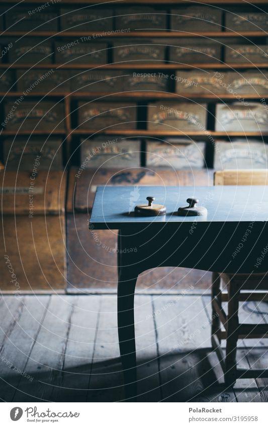 #S# alte Apotheke II Kunst ästhetisch Fächer Regal Nostalgie Tisch Waage Kräuter & Gewürze Apothekerschrank Licht warten zeitlos Farbfoto Gedeckte Farben