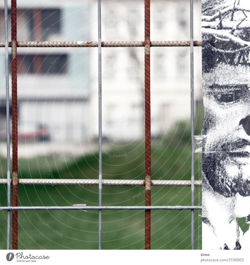 Geschichten vom Zaun (LVI) maskulin Mann Erwachsene 1 Mensch Kunst Gemälde Zeichnung Haus Bauzaun Stein Metall Graffiti Stadt Sicherheit Schutz Ausdauer
