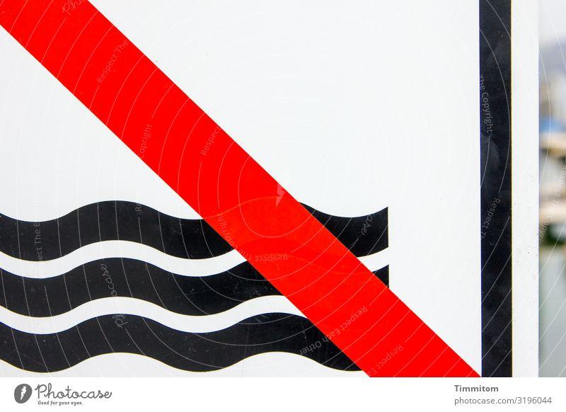 AST 7 | Vorsicht: Wasser! Ferien & Urlaub & Reisen Metall Kunststoff Zeichen Schilder & Markierungen Hinweisschild Warnschild Linie rot schwarz weiß Gefühle