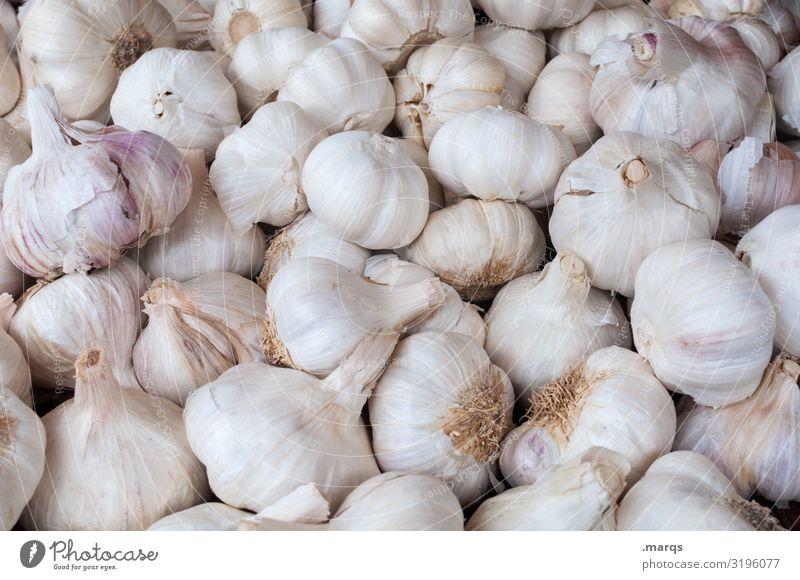 Knoblauch (40%) Lebensmittel Gemüse Knoblauchzehe Ernährung Wochenmarkt Bioprodukte Biologische Landwirtschaft frisch Gesundheit viele Farbfoto Außenaufnahme