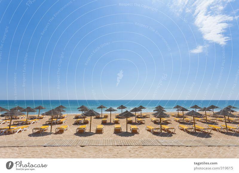 Buchhaltung Portugal Algarve Vale do Lobo Praia Garrao poente Sonnenschirm Ordnung Symmetrie Sandalgarve Ferien & Urlaub & Reisen Reisefotografie Idylle