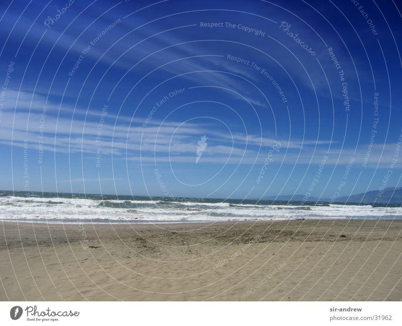 San Fran Bay Meer Strand Wolken Wellen Küste USA Blauer Himmel Kalifornien Pazifik Nordamerika San Francisco