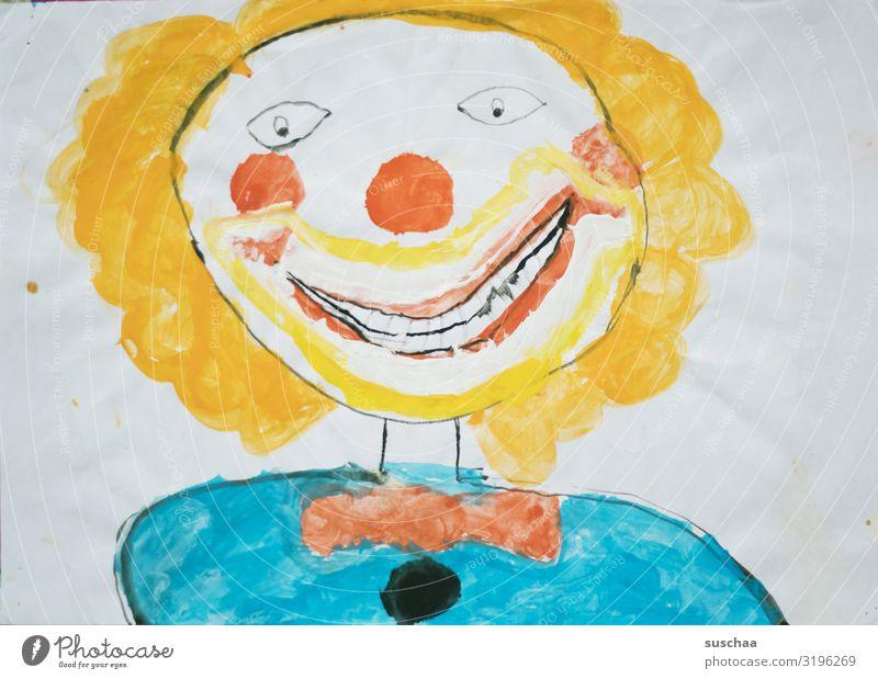 gruselclown Gemälde Zeichnung Kinderzeichnung Figur Clown hässlich gruselig Naivität schön Kunst Wasserfarbe mehrfarbig Gesicht Horrorclown grinsen Papier