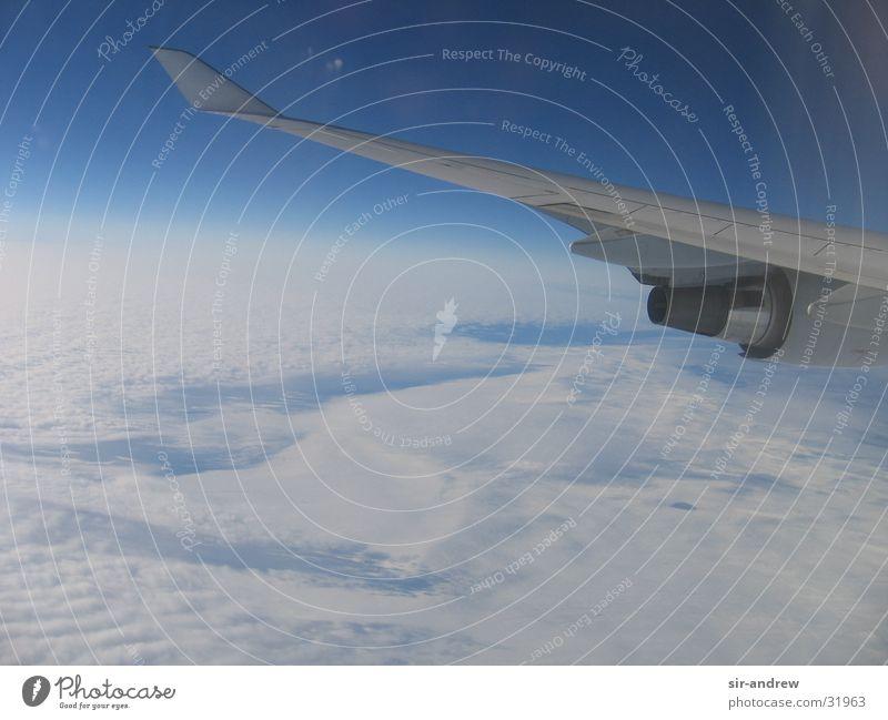 Über den Wolken... Flugzeug Triebwerke weiß Himmel Aussicht blau Fensterblick Luftaufnahme Atmosphäre Tragfläche Horizont Erde Wolkendecke Wolkenfeld