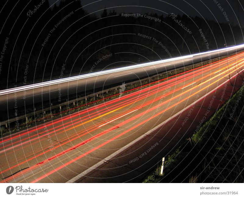 Autobahn A27 II Spuren Autobahn Rücklicht Lichtschweif