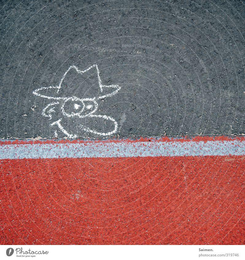 hallöööööööchen Mann Erwachsene Kopf Straße Mode Hut Blick Neugier gemalt malen Comic Comicfigur Straßenbelag Asphalt Linie Bodenbelag gezeichnet Interesse