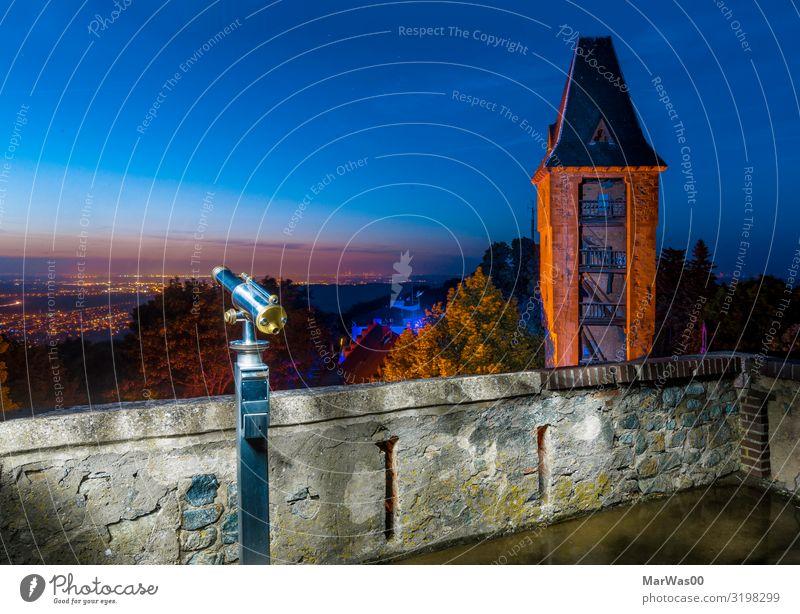 Frankstein´s Aussicht Ferien & Urlaub & Reisen blau Ferne Wand Mauer orange Horizont Turm Burg oder Schloss Sightseeing Wachsamkeit Nachthimmel Fernglas