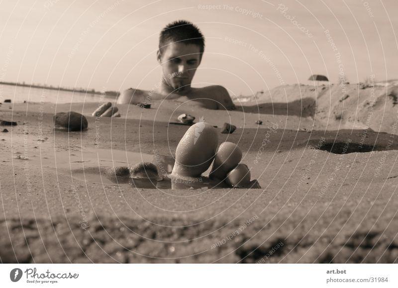 Zehenspitzengefühl Mann Strand Sand Typ
