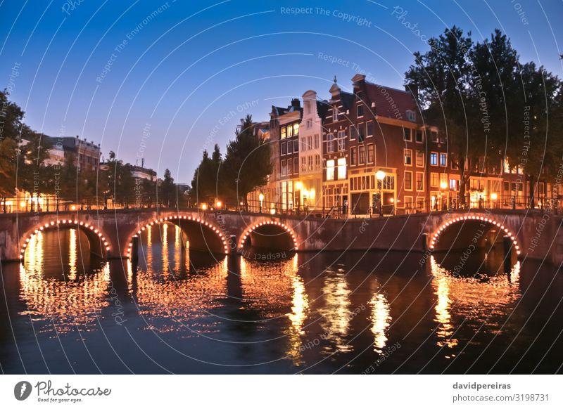 Amsterdam Kanäle und Brücken bei Nacht Ferien & Urlaub & Reisen Tourismus Haus Stadt Gebäude Architektur Straße alt blau gelb Keizersgracht Leidsegracht