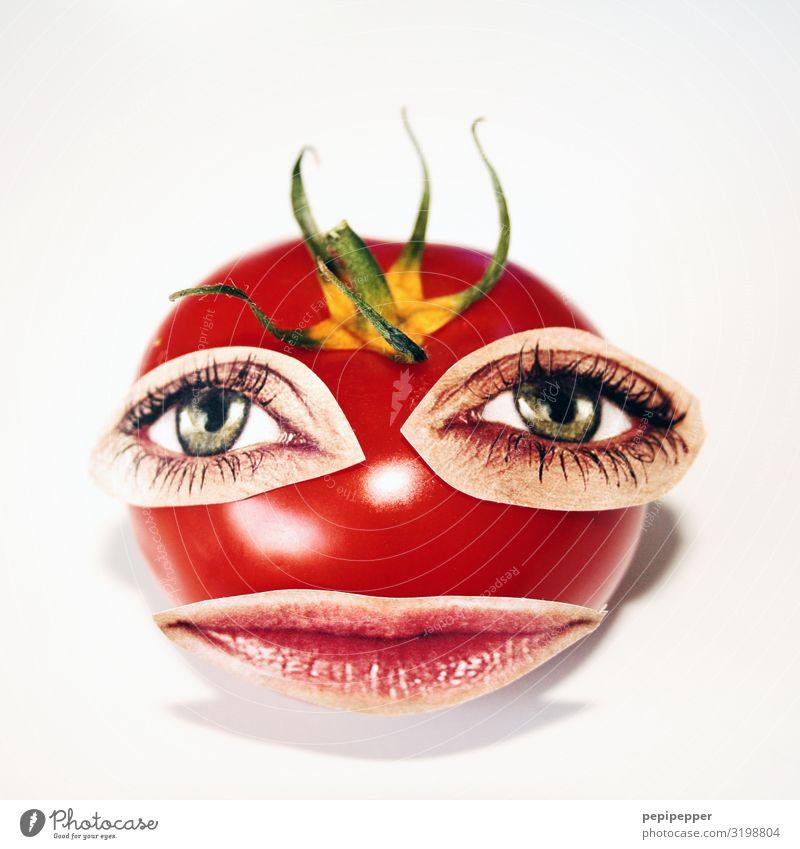 ich esse nichts was augen hat... Lebensmittel Gemüse Tomate Essen Mittagessen Abendessen Vegetarische Ernährung androgyn Kopf Gesicht Auge Mund Ornament Blick
