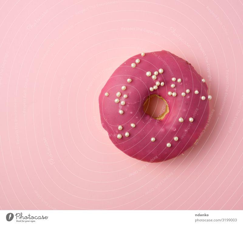 roter runder Donut mit weißen Streuseln Dessert Ernährung Frühstück Dekoration & Verzierung Feste & Feiern frisch lecker oben rosa Tradition Hintergrund backen