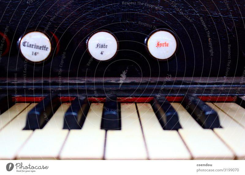 Klaviatur von altem Harmonium mit Knöpfen Musik Hausmusik Klavier musizieren Tasteninstrumente Regler Drehregler Forte Flöte Sammlerstück antik Schriftzeichen