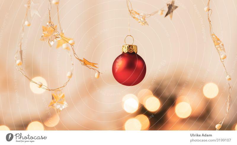 Rote Weihnachtskugel mit Lichterkette Design Postkarte Feste & Feiern Weihnachten & Advent Dekoration & Verzierung Kitsch Krimskrams Kugel Stern (Symbol)