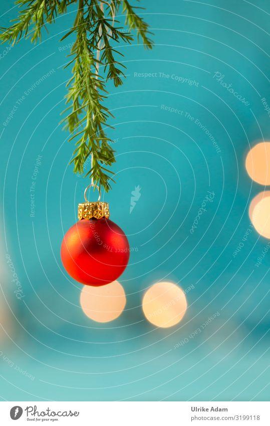 Rote Weihnachtskugel Postkarte Feste & Feiern Weihnachten & Advent Dekoration & Verzierung Kitsch Krimskrams Christbaumkugel Baumschmuck Kugel hängen leuchten