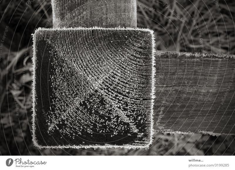 Raureif auf einem Holzquadrat, Detail eines Zauns kalt Kälte Winter Frost Pfosten Holzpfosten Gartenzaun Eiskristalle Quadrat rechtwinklig Schwarzweißfoto