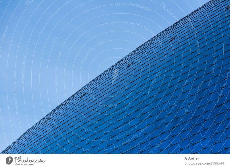 blaues gewölbtes Dach aus Stahlplatten Technik & Technologie Kunstwerk Haus Bauwerk Gebäude Architektur Museum Mauer Wand Fassade Stahlkonstruktion stahlblau