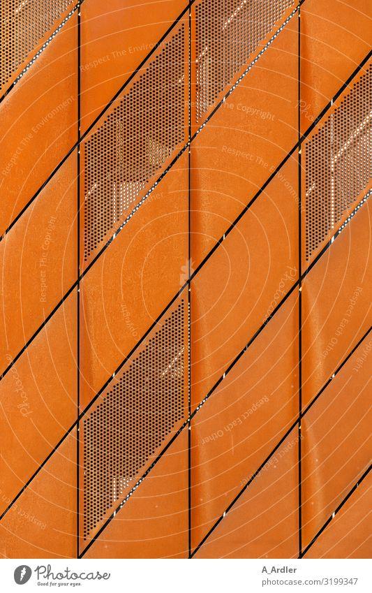Fassade aus rostigen Metallplatten Technik & Technologie Wissenschaften Kunst Haus Hochhaus Bauwerk Gebäude Architektur Stahl Rost außergewöhnlich orange