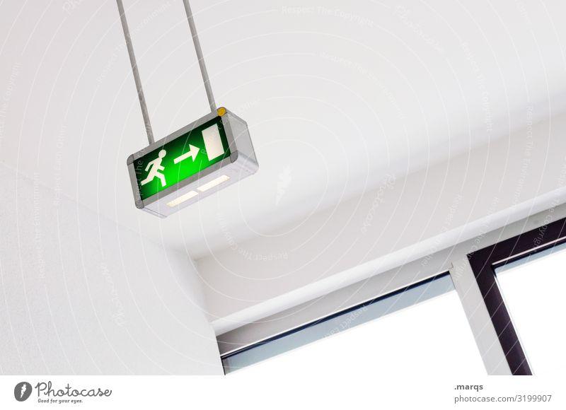Exit grün weiß Fenster schwarz Innenarchitektur hell Angst Hinweisschild Zeichen Ziel Flucht Panik Piktogramm Ausgang Warnschild Notfall