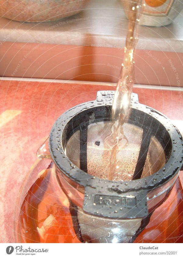 TeeaufgussTee Teekanne Teesieb orange Getränk Lebensqualität Gesundheit Wasser