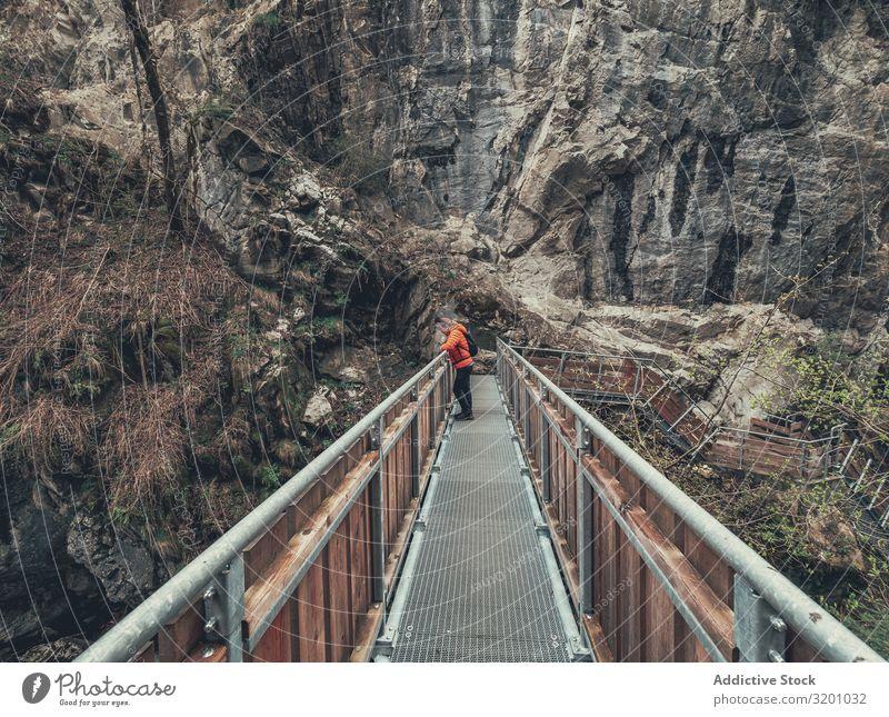 Tourist auf Wanderweg inmitten der Naturlandschaft wandern Wege & Pfade Landschaft Reisender Fußweg umgeben Baum Dolomiten Italien Alpen Sport Wanderer Aktion