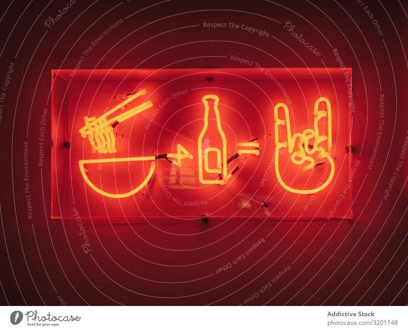 Neonschild auf rotem Hintergrund Hinweisschild Lebensmittel asiatisch Restaurant Ikon Symbole & Metaphern Café Straße Japaner Speise Mahlzeit Getränk Ramen