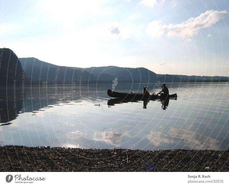 Dicke Freunde Sommer See Reflexion & Spiegelung Kanu Wasserfahrzeug Hund Sonne