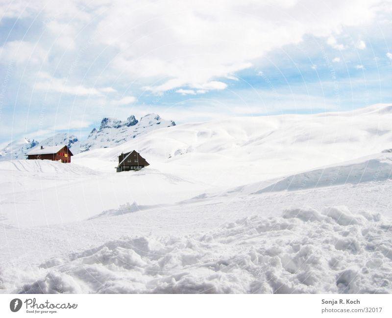 Winterlandschaft Schnee Berge u. Gebirge Schweiz Skigebiet Skipiste