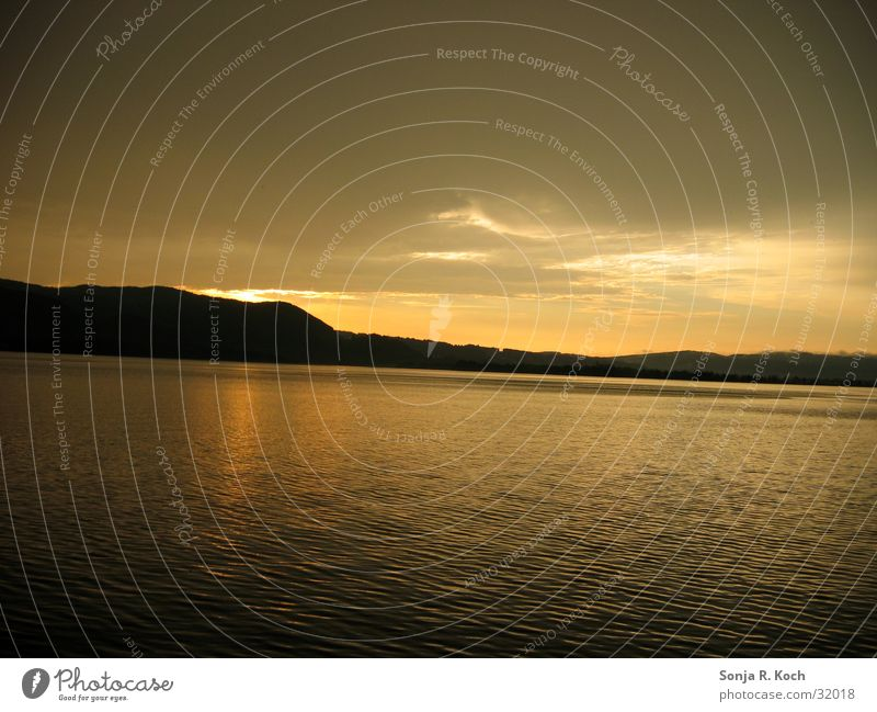 Abendrot Sonnenuntergang ruhig See Kochelsee Wasser