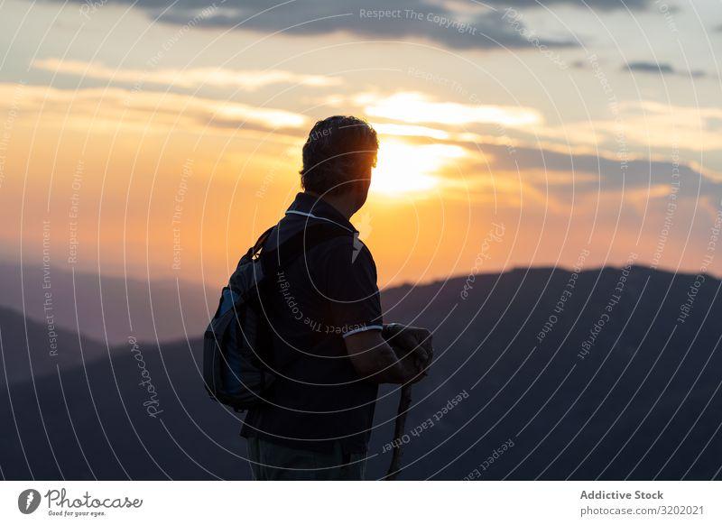 Der Mensch auf dem Berg Mann Senior Berge u. Gebirge wandern Natur Lifestyle Trekking Gesundheit Landschaft Wege & Pfade Sommer Außenaufnahme Park