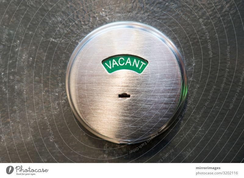 Wasserklosett, Badezimmer, Toilette offen und unbewohnt Metall Sauberkeit grün Zugang gebürsteter Stahl Aktion Tür leer Handgriff im Innenbereich Information