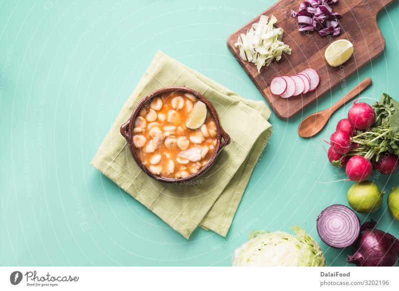 Pozole typisch mexikanisches Essen Gemüse Suppe Eintopf Kräuter & Gewürze Ernährung Mittagessen Abendessen Teller Restaurant Tradition Chile Peperoni farbenfroh