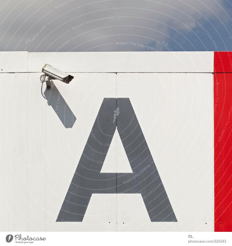 A Himmel Stadt Wand Mauer Gebäude Fassade Schilder & Markierungen Beginn bedrohlich beobachten Technik & Technologie Sicherheit Schutz Industrie Buchstaben