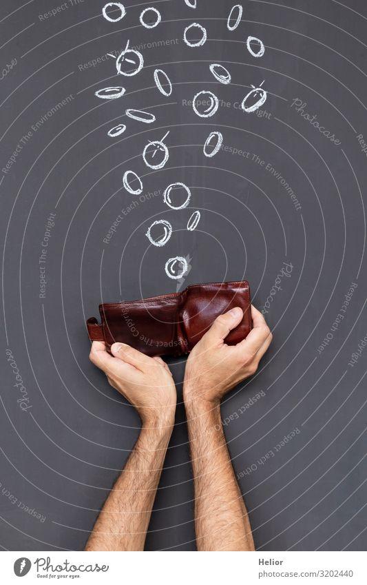 Geld verdienen mit einem Portemonnaie Arme Hand fallen festhalten reich braun schwarz weiß Gier Armut Reichtum Tafel Geldmünzen Geldgeschenk Geldkapital