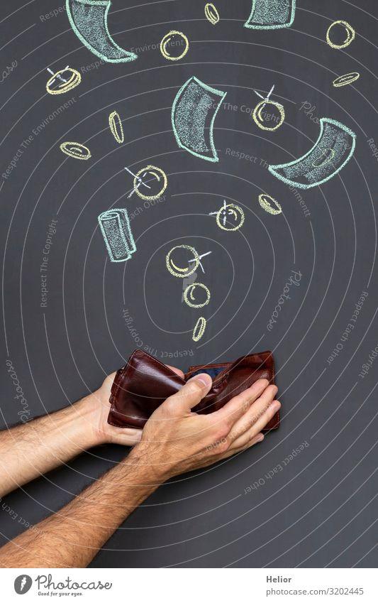 Geld verdienen mit einem Portemonnaie Arme Hand Leder festhalten Erfolg reich braun schwarz weiß Geldscheine Tafel Zeichnung Geldmünzen Geldkapital einnehmen
