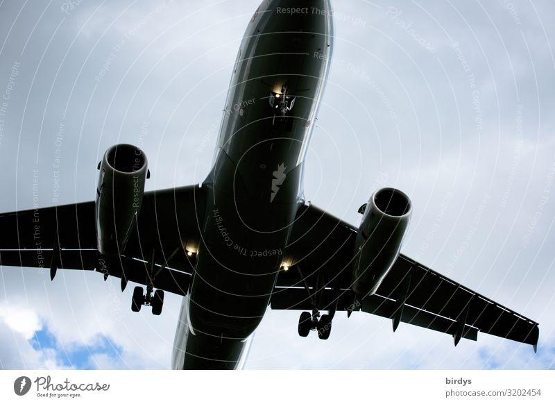 umstrittenes Verkehrsmittel Himmel Ferien & Urlaub & Reisen blau Wolken Tourismus grau fliegen Luftverkehr authentisch groß Klima Flugzeug bedrohlich