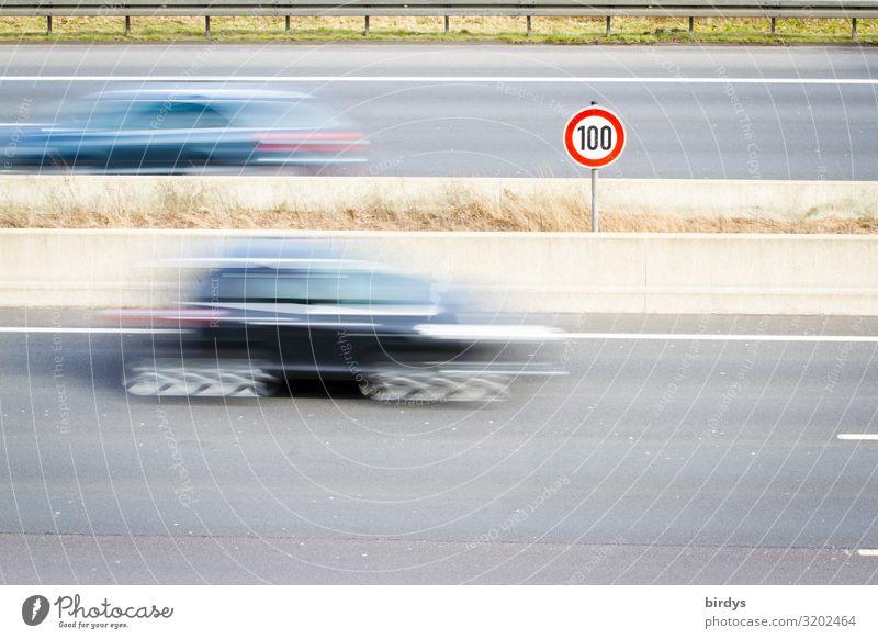 100, die Niederlande machts vor Klimawandel Deutschland Verkehr Straßenverkehr Autofahren Autobahn PKW Schilder & Markierungen Hinweisschild Warnschild