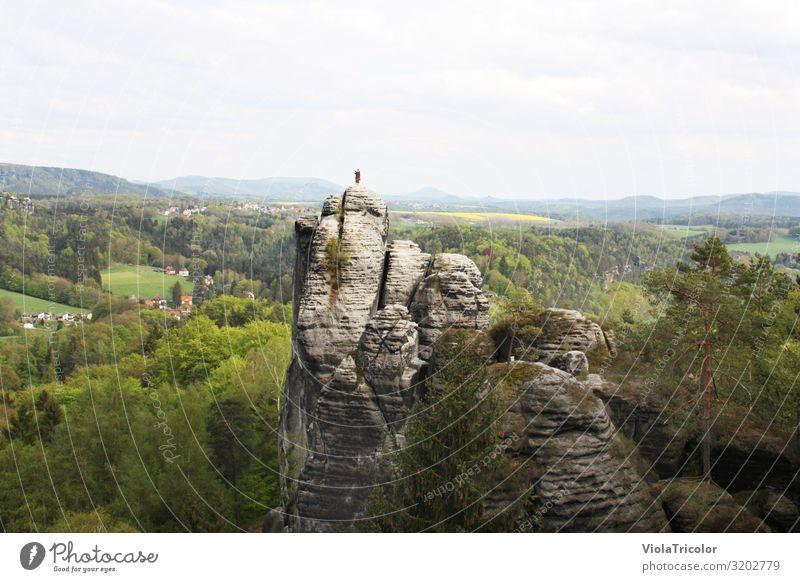 Bastei (Mönch) Erholung Ferien & Urlaub & Reisen Tourismus Ausflug Ferne Freiheit Berge u. Gebirge wandern Natur Landschaft Himmel Frühling Sommer Baum Wald