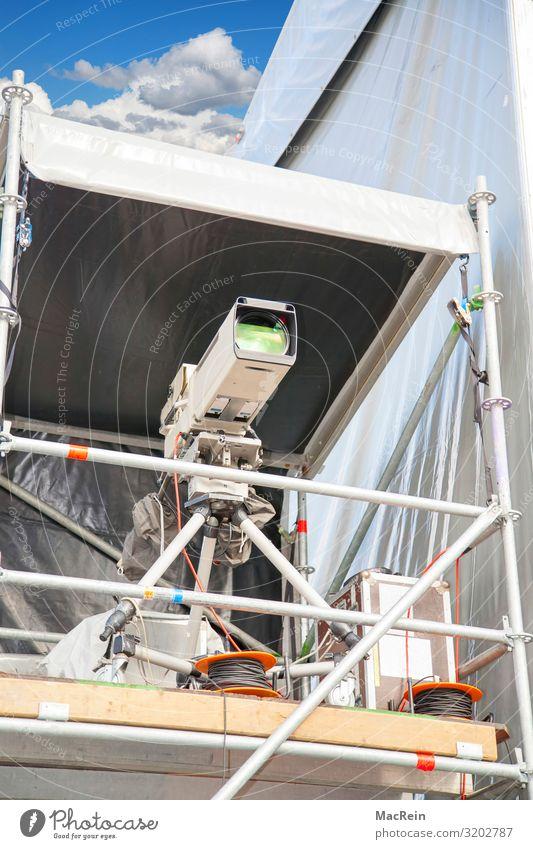 fernsehkamera Business Textfreiraum Kabel Show Fernsehen Werkstatt Gerät Videokamera Produktion Szene live Aufzeichnen Brennpunkt Sucher professionell Blende