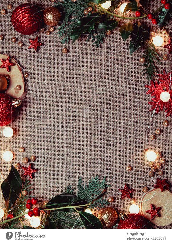 Weihnachtsdekoration Design Dekoration & Verzierung Feste & Feiern Weihnachten & Advent Tanne Kultur rot gold glänzend Lichterkette Mistelzweig