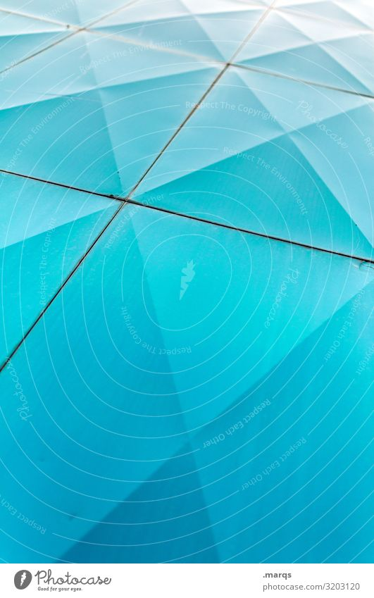 Into the blue Design Fassade Metall Linie eckig einfach hell modern blau Farbe Strukturen & Formen Geometrie Farbfoto Außenaufnahme abstrakt Muster Menschenleer