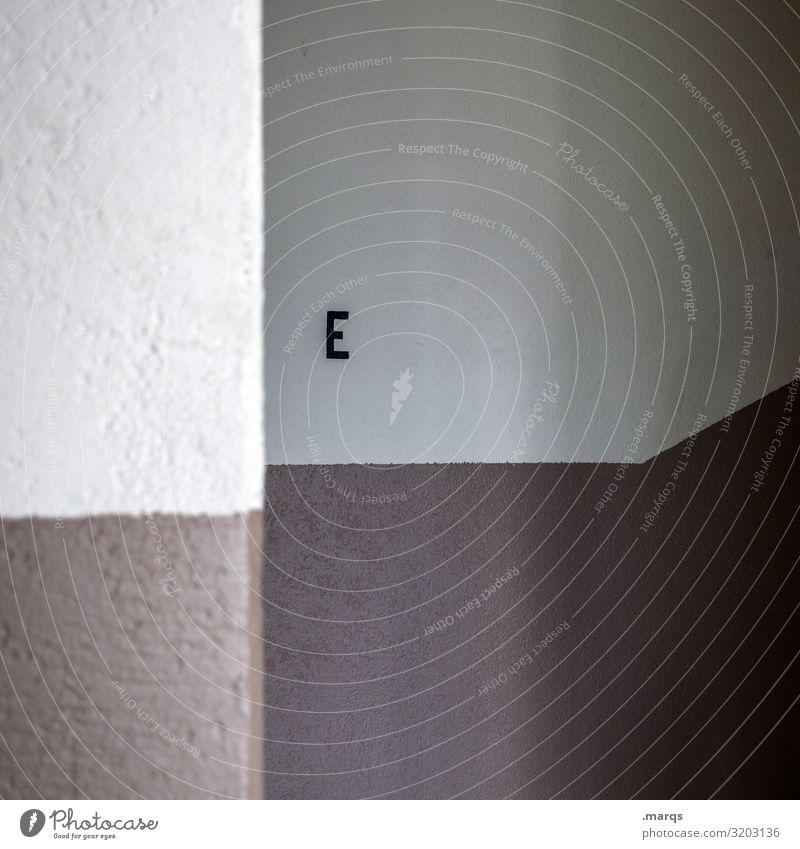 E elegant Stil Design Treppenhaus Schriftzeichen Linie eckig braun weiß Perspektive Grafik u. Illustration minimalistisch Farbfoto Innenaufnahme abstrakt