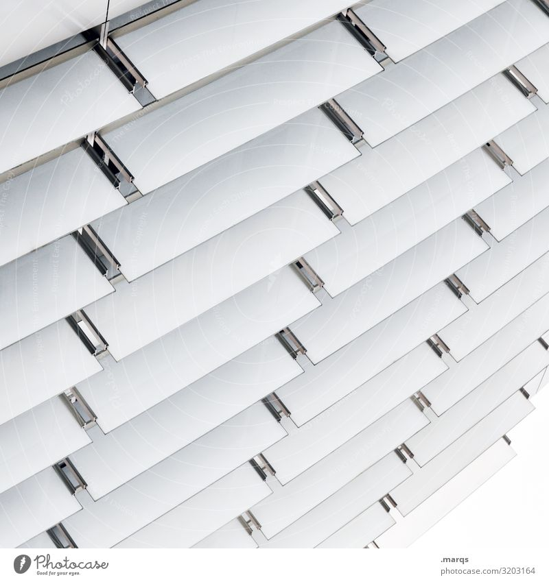Lamellen Design Architektur Fassade Kunststoff Linie hell weiß Genauigkeit Ordnung Perspektive Zukunft Grafik u. Illustration einheitlich Farbfoto Außenaufnahme