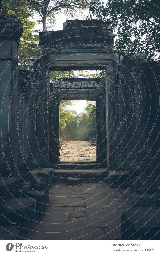 Alte Steintore im Garten Tor antik Tempel Ferien & Urlaub & Reisen Thailand Architektur alt Kultur Bogen Hauseingang Antiquität Tradition historisch Frieden