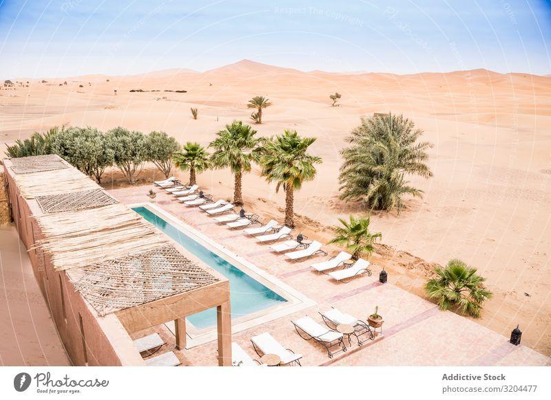 Der Pool eines exotischen Hotels in der Wüste Beckenrand Marokko Resort Oase Sommer Architektur Ferien & Urlaub & Reisen Stein Freizeit & Hobby Landschaft