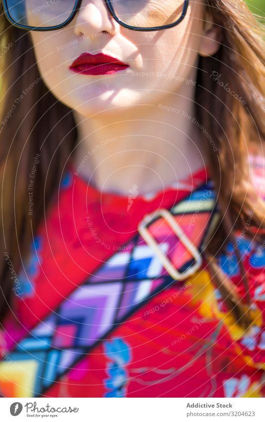 Weibliches Erntegut mit Tasche im Sommerfeld stehend Frau Stil Feld Kleid Lifestyle Freizeit & Hobby Sonnenstrahlen Tag Wochenende Portemonnaie Accessoire