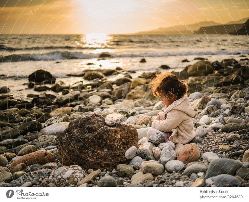 Mädchen am Felsstrand sitzend Spielen Stein Strand Kleinkind Interesse niedlich Kindheit Seeküste Verstand Kreativität Gelassenheit Küste