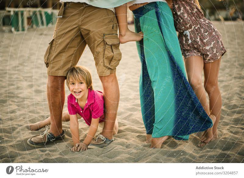 Ernte-Eltern mit Kindern am Strand Familie & Verwandtschaft Liebe Menschengruppe Junge Mädchen Glück reizvoll spielerisch Geschwisterkind Sommer