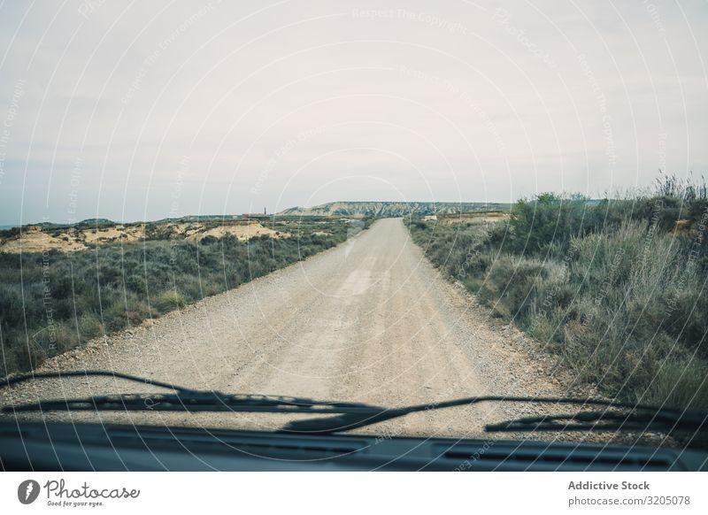 Leere Straße, die zwischen Feldern mit Vegetation führt Wüste Landschaft Pflanze Ausflug regenarm Natur Himmel Ferien & Urlaub & Reisen heiß Ausflugsziel