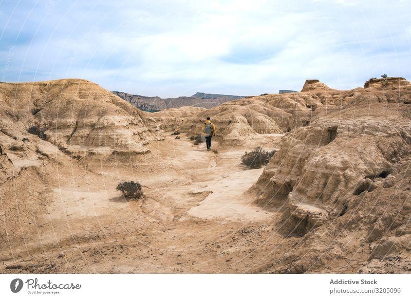 Mann, der auf einer erstaunlichen Landschaft von Wüstenhügeln auf dem Hintergrund des blauen Himmels läuft Hügel Sand Stein Pflanze Ausflug regenarm Natur